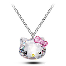 2017 Crystals from Swarovski Pendant Cute Hello Kitty Jewelry Necklace girl Gift