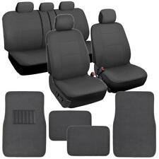 Car Seat Covers & Floor Mats Set Split Bench - Solid Dark Gray Polyester Cloth
