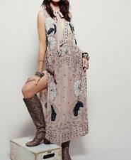 $498 ☮ FREE PEOPLE Stuck on You Embellished Beaded Maxi Tank Sheer Dress ☮ SMALL