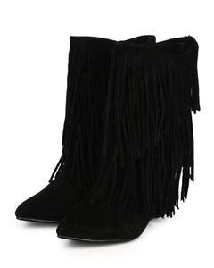 New Women Liliana Tesla-1 Suede Fringe Pointy Toe Calf High Wedge Boot Size