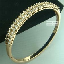 9K 9CT Rose Gold Filled GF with Crystal Elegant Can Open Bangle G78