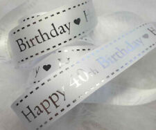 15mm 5 metres Berisfords Nautural Charms Birthday Ribbon-Happy 18th