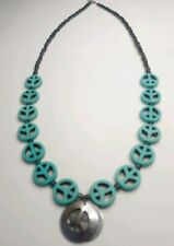 PEACE Sign, NECKLACE,  TURQUOISE Hippie Charms Beaded Chain 60's, Women's,