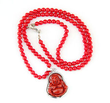 Red Coral Tibet Buddhist Happy Buddha Amulet Pendant Beads Necklace