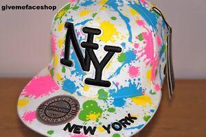 NY SPLASH FITTED CAP, PAINT BLING FLAT PEAK HAT, HIPHOP , KIDS & ADULTS BASEBALL