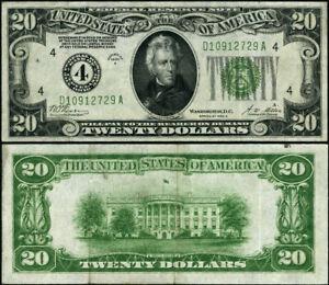 FR. 2051 D $20 1928-A Federal Reserve Note Cleveland D-A Block XF