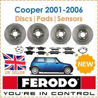 For Mini One Cooper 2001-2006 FERODO Brake Discs & Pads + Sensors Front & Rear