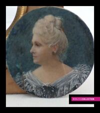 ANTIQUE EARLY 1900s FRENCH SCHOOL MINIATURE PAINTING WATERCOLOR Portrait woman