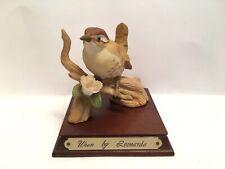 More details for leonardo wren bird on wooden plinth statue figurine ornament english country