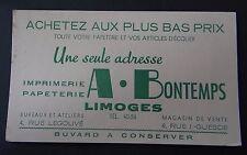 Buvard BONTEMPS papeterie imprimerie écolier LIMOGES Blotter Löscher