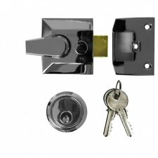 Narrow Night Latch Cylinder Lock, Polished Chrome, With 2 Keys Front Door Lock