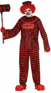 Mens Psycho Clown Costume Circus Evil Killer Halloween Fancy Dress Adults Outfit