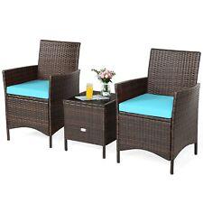 3Pcs Patio Rattan Furniture Set Cushioned Sofa Glass Tabletop Deck Blue.