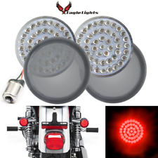 """Eagle Lights 2"""" Harley LED Red Rear Turn Signals 1156 Single Contact Smoked Kit"""