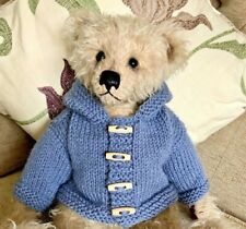 ++ TEDDY CLOTHES ++ new hand knitted duffle coat with hood for a 16 inch bear