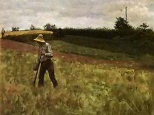 "Oil painting erik theodor werenskiold - man with a scythe in dusk landscape 36"""