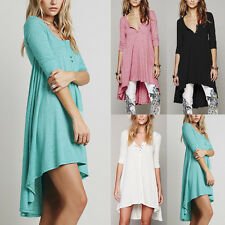Womens 3/4 Sleeve V Neck Loose Tops T-Shirts Blouse Boho Maxi Shirt Dress Kaftan
