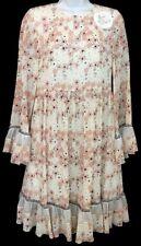 Chloe Dress Pink floralPrint Silk Flair Ruffle Trim Size 36  NWT 2650