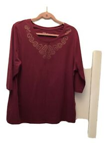 WOMAN'S TOP BY CATHERINES - DARK RED - SIZE 0X (14-16W)