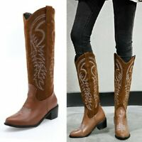 Damenstiefel Cowboy Western Reiterstiefel Stickerei Kuban Kniehoch Stiefel 34-49