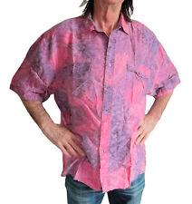 "100% Seda Oscuro Rosa / LILA tie-dye Camisa Hawaiana M, 50"" manga corta NUEVO"