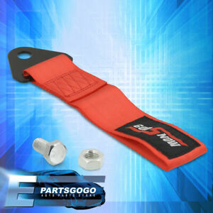 For Honda Acura Godsnow JDM Track Recovery Tow Rope Strap Bumper Front Rear Red
