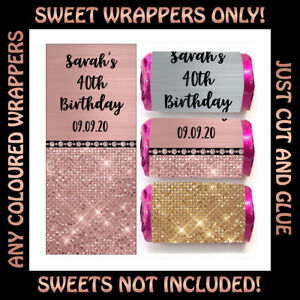 Personalised Glitzy DIY Mini Love Heart Sweet WRAPPERS ONLY Hen Party