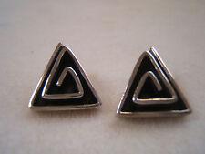 Vintage Spiral Swirl Triangle  925 Sterling Silver Post Earrings