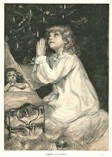 Weihnachten, Dankgebet an das Christkind, Original-Farbholzstich von 1890