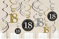 12 x 18th Birthday Hanging Swirls Black Silver Gold Party Decorations Age 18