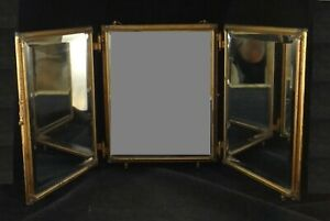 """Antique French Gilt Metal & Beveled Glass Tipple Mirror. c. 1890's. 11"""" tall"""