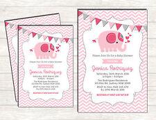 ELEPHANT Baby Shower Invitation Pink Gray Chevron Girl Shower Invite Bunting