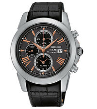 New Seiko SSC379 Solar Le Grand Sport Chronograph Leather Strap Men's Watch
