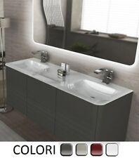 Mobile Bagno sospeso da 140 cm 4 colori doppio lavabo cristallo bianco mobili |6