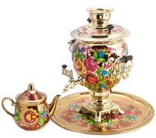 Gold Electric Samovar Teapot Tray US Compatible (110 V) w/ Hand painted Flowers