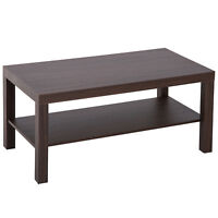 Minimal Wood Coffee Table Cocktail Side Table Storage Shelf Living Room Walnut