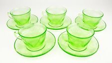 5 Georgian Love Birds Federal Glass Company Depression Green Tea Cup and Saucer