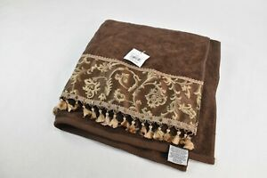 "Avanti Linens Damask Fringe Bath Towel, Mocha 87801 49"" x 27"""