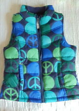 Old Navy Kids Blue Sz S ( 8-10 )Fleece Lined Puffer Vest Peace Signs Jacket EUC