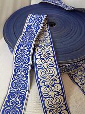Fabric Trim fleur de lis 1 1/4 inch 10 yards Blue