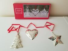 Lenox Star Tree and Heart Set of 3 Christmas Metal Ornaments