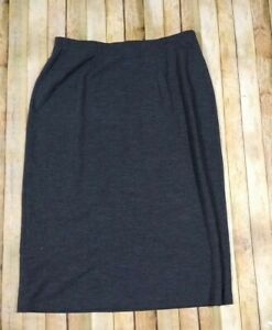 Eileen Fisher Woman Wool A-Line Pull On Midi Skirt 2X P Petite Gray Modest