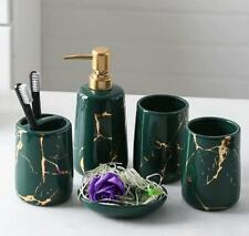 Dark Green Ceramic Bath Accessory Set Tumbler Soap Dispenser Toothbrush Holder