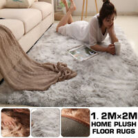 Soft Shaggy Carpet Silky Fluffy Rug Large Lounge Couch Non Slip Anti Area 1.2*2m