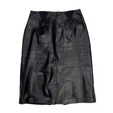 Vintage Black Genuine Leather Pencil Skirt Size 4 Elastic Gusset High Waisted