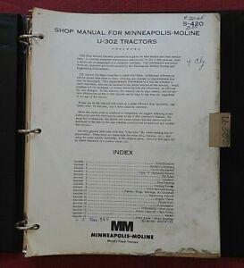 "1964-1970 MINNEAPOLIS MOLINE ""U-302"" TRACTOR SERVICE REPAIR SHOP MANUAL"
