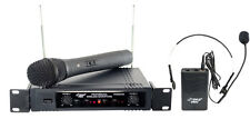 NEW Pyle PDWM2700 2Ch VHF Wireless Microphone System W/ Handheld & Headset Mic