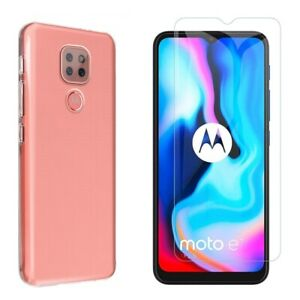 For MOTOROLA MOTO E7 CLEAR CASE + TEMPERED GLASS SCREEN PROTECTOR SHOCKPROOF E 7