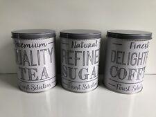 * NEW RETRO SET 3 ROUND GREY TEA SUGAR coffee canisters tin kitchen storage