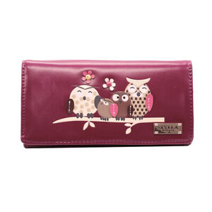 women's medium size owl family and tree Pattern clutch wallet / Purse